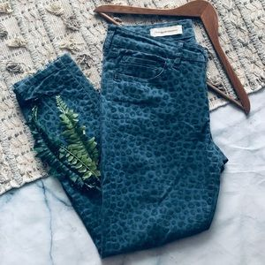 Anthro Pilcro Stet Leopard Print Skinny Jeans (30)
